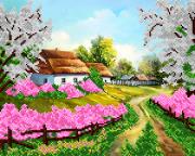 Рисунок на ткани для вышивки бисером Садок вишневий біля хати..