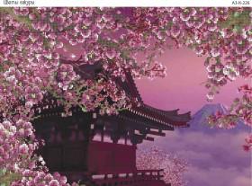 Схема для вышивки бисером на габардине Цветы Сакура