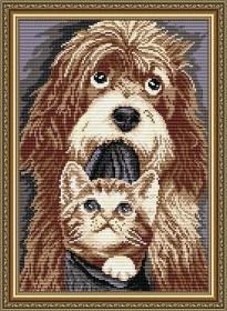 Набор для выкладки алмазной техникой Собака с котенком, , 400.00грн., АТ3019, Art Solo, Животные