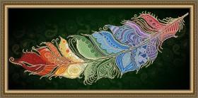 Схема вышивки бисером на авторской канве Перо жар-птицы на темном