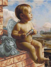Схема вишивкі бісером на габардині Ангел на даху Акорнс А3-К-882 - 70.00грн.