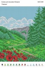 Рисунок на габардине для вышивки бисером Пейзаж Вишиванка А4-054Ф