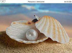 Схема для вышивки бисером на габардине Ракушка с жемчугом Акорнс А4-К-038 - 45.00грн.