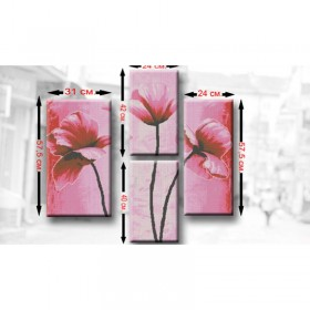 Схема для вышивки бисером Триптих Маки рожеві Biser-Art ТМ5 - 220.00грн.