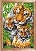 Схема вышивки бисером на габардине Тигрица с тигрятами