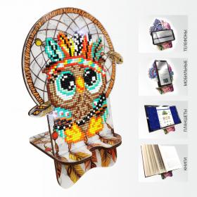 Подставка под телефон с алмазной мозаикой Совушка. Ловец снов