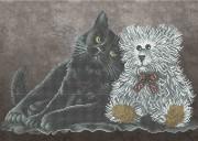 Схема вишивкі бісером на габардині Кішка з ведмежам