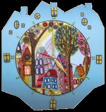 Набор для создание часов с вышитой основой Красочный город Новая Слобода (Нова слобода) РТ6514