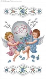 Схема для вышивки бисером на габардине Пасхальная с ангелами Акорнс А2-Н-004 - 120.00грн.