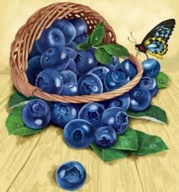 Набор для выкладки алмазной мозаикой Лукошко голубики Алмазная мозаика DM-012 - 340.00грн.