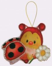 Набор для изготовления игрушки из фетра для вышивки бисером Божья коровка Баттерфляй (Butterfly) F028