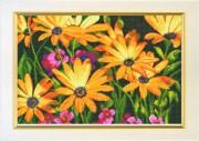 Схема вышивки бисером на авторской канве Цветы