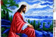 Схема вышивки бисером на габардине Ісус в Єрусалимі