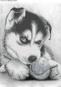 Схема для вышивки бисером на габардине Щенок Хаски, , 70.00грн., А3-К-316, Acorns, Коты, бабочки, волки и птицы