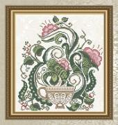 Схема для вышивки бисером на габардине Цветочный чай