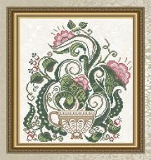 Схема для вышивки бисером на габардине Цветочный чай Art Solo VKA4711