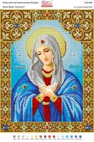 Схема для вышивки бисером на габардине Божа Матір Умиління, , 50.00грн., БА3-466, Вишиванка, Иконы 30*45 см