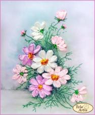 Набор для вышивки лентами Космея Tela Artis (Тэла Артис) ЛТ-002