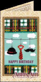 Набор-открытка для вышивки бисером Набор джентльмена, , 74.00грн., АО-148, Абрис Арт, Открытки, магниты