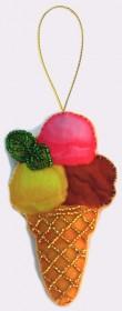 Набор для изготовления игрушки из фетра для вышивки бисером Мороженое