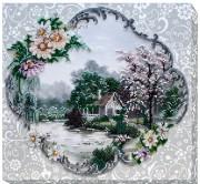 Набор для вышивки бисером на холсте Домик на воде