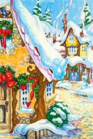 Схема для вышивки бисером на атласе Рождественская деревушка