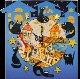 Набор для вышивки в смешанной технике Кошкин дом, , 460.00грн., РТ6513, Новая Слобода (Нова слобода), Часы