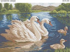 Схема для вышивки бисером на габардине Семейство лебедей Acorns А4-К-245 - 45.00грн.