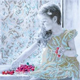 Схема для вышивки бисером на холсте Девочка и вишни