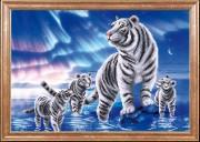 Схема для вышивки бисером на габардине Белые тигры