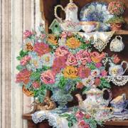 Схема вышивки бисером на холсте Английский завтрак