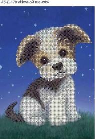 Схема для вышивки бисером на габардине Ночной щенок