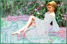 Набор для вышивки бисером Девушка у бассейна Каролинка КБЛН-4001