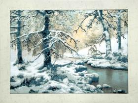 Набор для вышивки крестом Волки возле зимнего ручья