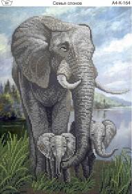Схема для вышивки бисером на габардине Семья слонов