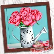 Схема для вышивки бисером (нитками) на габардине Годинник Ваза з трояндами