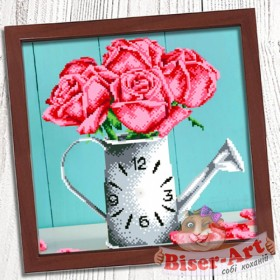 Схема для вышивки бисером (нитками) на габардине Годинник Ваза з трояндами Biser-Art 37412 - 85.00грн.