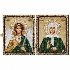 Набор для вышивки иконы бисером в рамке-складне Св. Матрона Московская и Ангел Хранитель