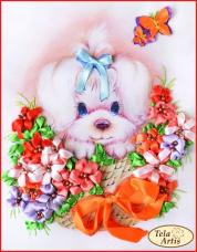 Набор для вышивки лентами Щенок в цветах Tela Artis (Тэла Артис) ЛТ-004