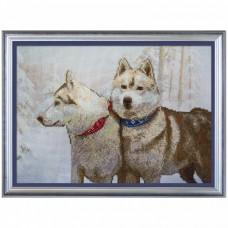 Набор для вышивки крестом на канве Снежные псы