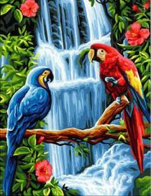 Набор для выкладки алмазной мозаикой Попугаи у водопада Алмазная мозаика DM-332 - 430.00грн.