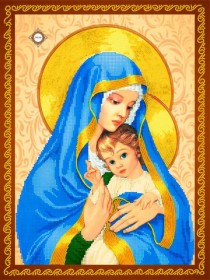 Схема для вышивки бисером на атласе Мадонна с Иисусом, , 115.00грн., СЛ-3241, Миледи, Иконы 30*45 см