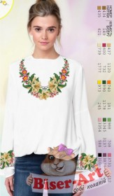 Заготовка вышиванки Женской сорочки на белом габардине Biser-Art SZ10 - 320.00грн.