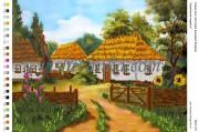 Рисунок на габардине для вышивки бисером Українське подвір'я