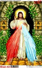 Схема вышивки бисером на габардине Ісус уповаю на тебе Biser-Art 40х60-3062