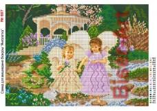 Схема вышивки бисером на габардине Ангелочки Biser-Art 30х40-607