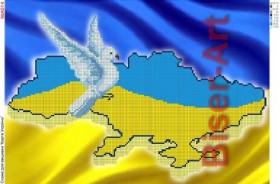 Схема вышивки бисером на габардине Карта України  Biser-Art 30х40-А514 - 60.00грн.