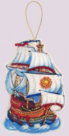 Набор для изготовления игрушки из фетра для вышивки бисером Корабль, , 48.00грн., F102, Баттерфляй (Butterfly), Новый год