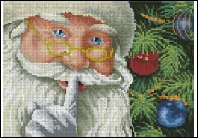 Схема вышивки бисером на габардине Санта, , 50.00грн., С-257, Эдельвейс, Новый год