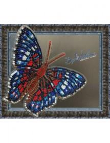 Набор для вышивки бисером на прозрачной основе Бабочка Красный Павлин